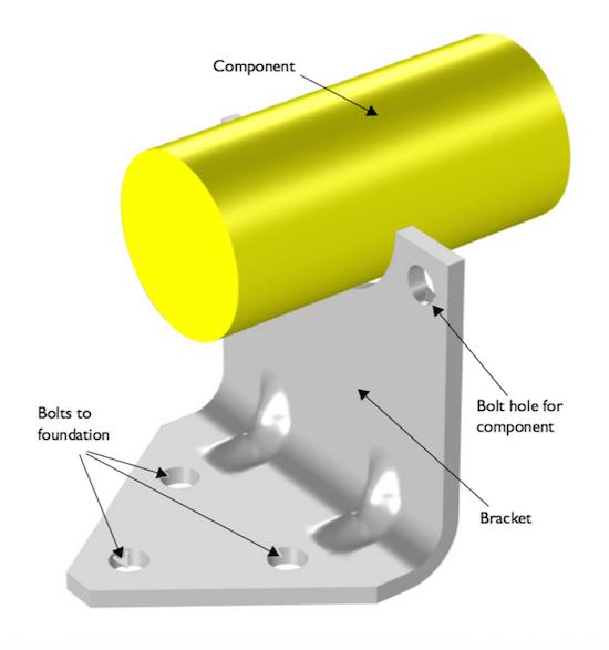 支撑重型组件的钢制支架。
