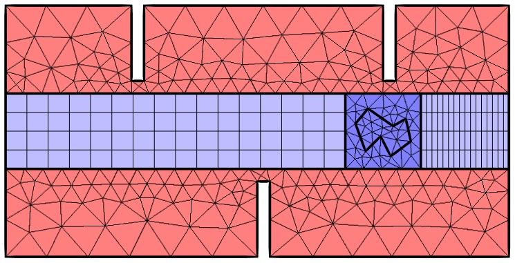 用在分割域上的变形网格接口。