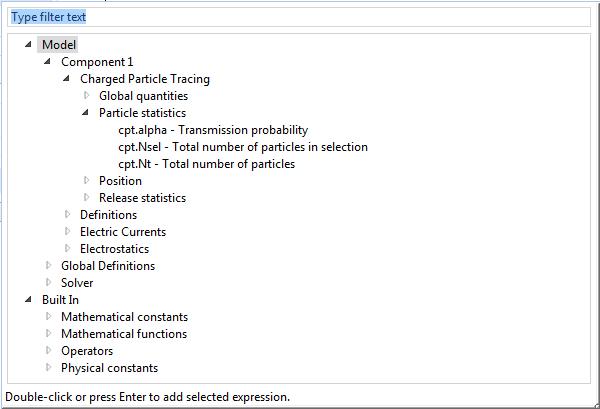 将表达式添加到 COMSOL Multiphysics 粒子计数模型。