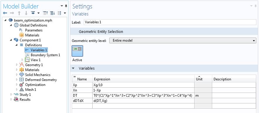 形状优化问题中厚度变化函数及其导数的屏幕抓图。