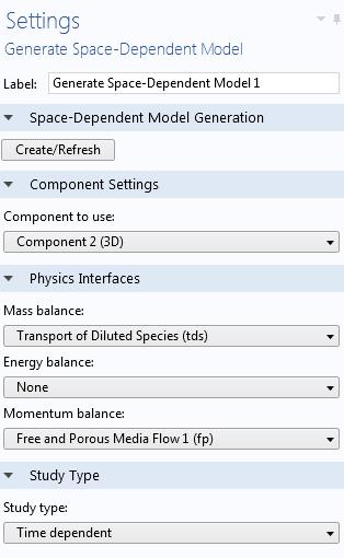 生成空间依赖性模型功能设置的屏幕抓图。