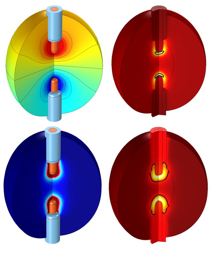 四张图片显示了 COMSOL Multiphysics 射频消融模型的仿真结果。