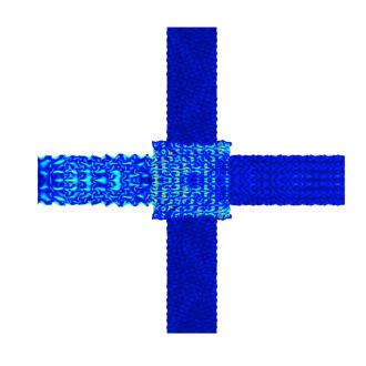 频率为 88 KHz 时在 COMSOL Multiphysics 绘制的振动响应。