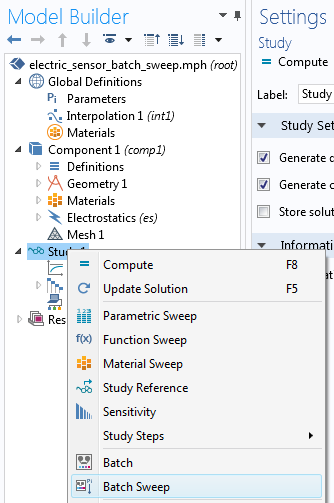 COMSOL Multiphysics 中的批处理扫描菜单。