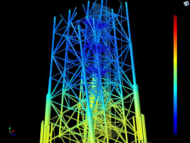 图像描绘了浸没在海水中的钢导管架结构相对于 Ag/AgCl 参考电极的电。