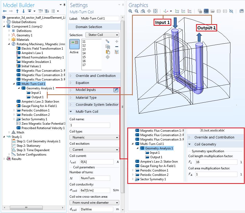 使用多匝线圈特征模拟定子线圈。