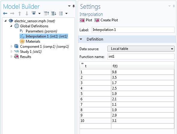 模型开发器中介电常数值表格。
