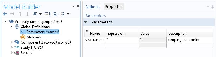 显示在 COMSOL Multiphysics 中如何定义黏度递变参数的屏幕截图。