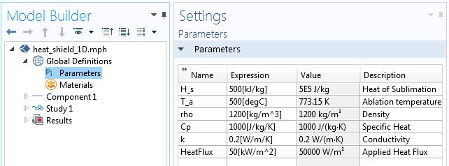 用于一维模型的全局参数屏幕截图。