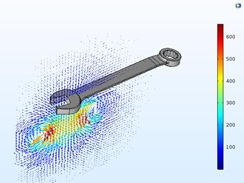 线圈电流达到最大时磁通量的仿真结果图。