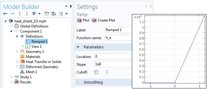 "COMSOL Multiphysics 中""斜坡""函数的屏幕截图。"