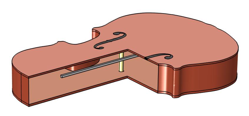 COMSOL Multiphysics 小提琴模型示意图。