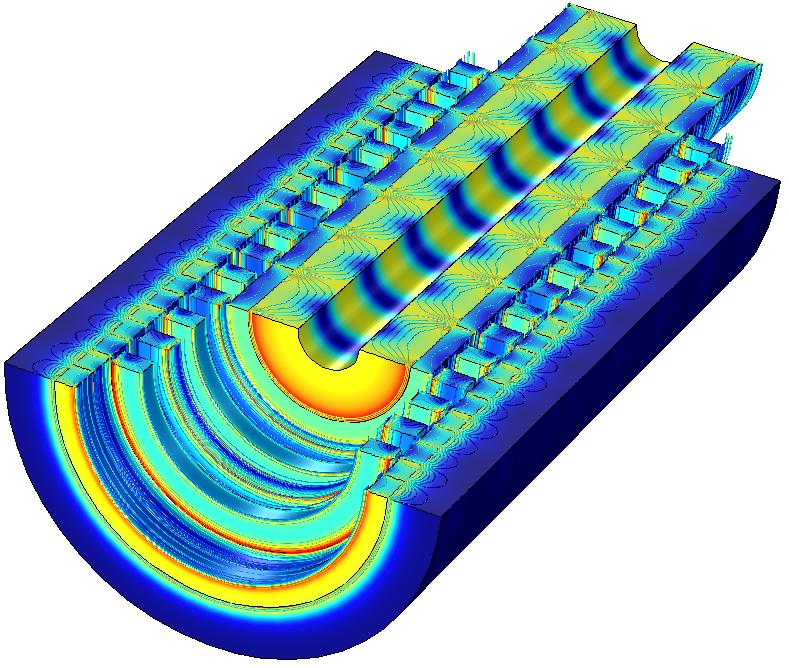 直线磁齿轮的磁通密度模和磁通密度等值线图。