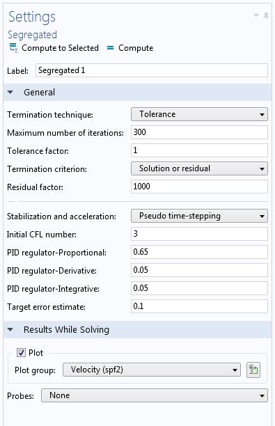 屏幕截图显示了分离式求解器的设置窗口。