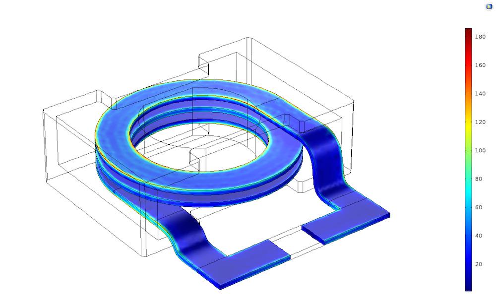 图像展示了电感器设计中的表面电流。