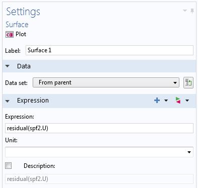 表面绘图节点的设置窗口显示了使用 residual 算子作为绘图表达式。