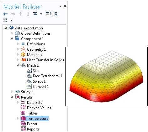 拥有不同网格类型的 COMSOL Multiphysics 热模型。