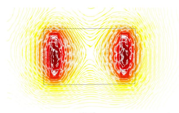 含四个电极的石墨烯生物传感器温度分布图。