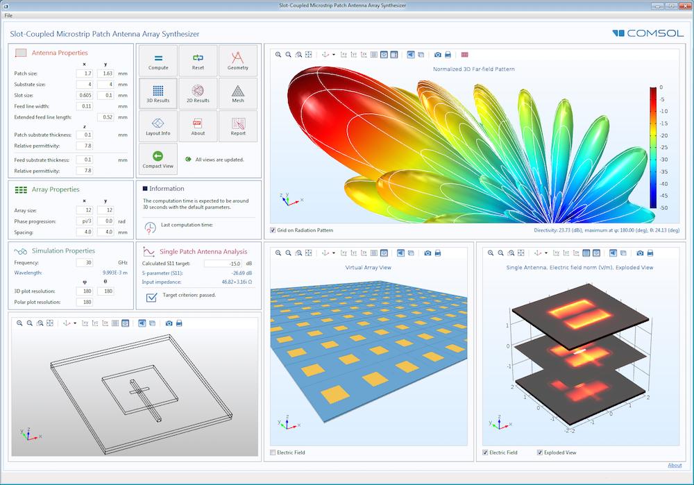 缝耦合微带贴片天线阵列合成器仿真 App 的用户界面。