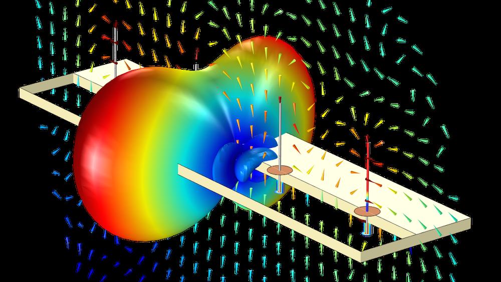 COMSOL Multiphysics 中单级天线阵列的远场辐射模式图。