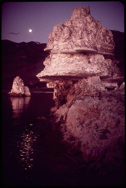 加利福尼亚一湖泊水面上的多孔岩层。