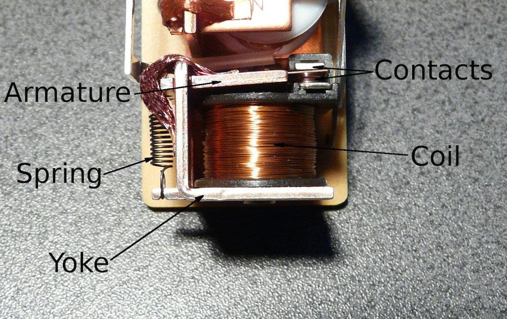 带有各组件标签的电磁继电器照片。