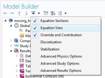 显示如何在 COMSOL Multiphysics 中启用方程视图以便施加边界条件的屏幕抓图。