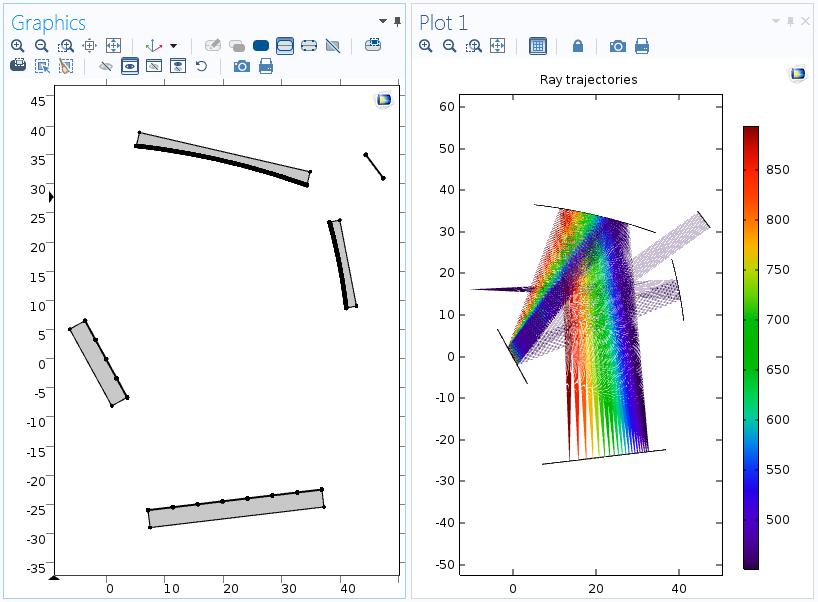 使用 COMSOL Multiphysics  5.2a 版本中更新功能后 Czerny-Turner 单色器中的网格和轨迹。