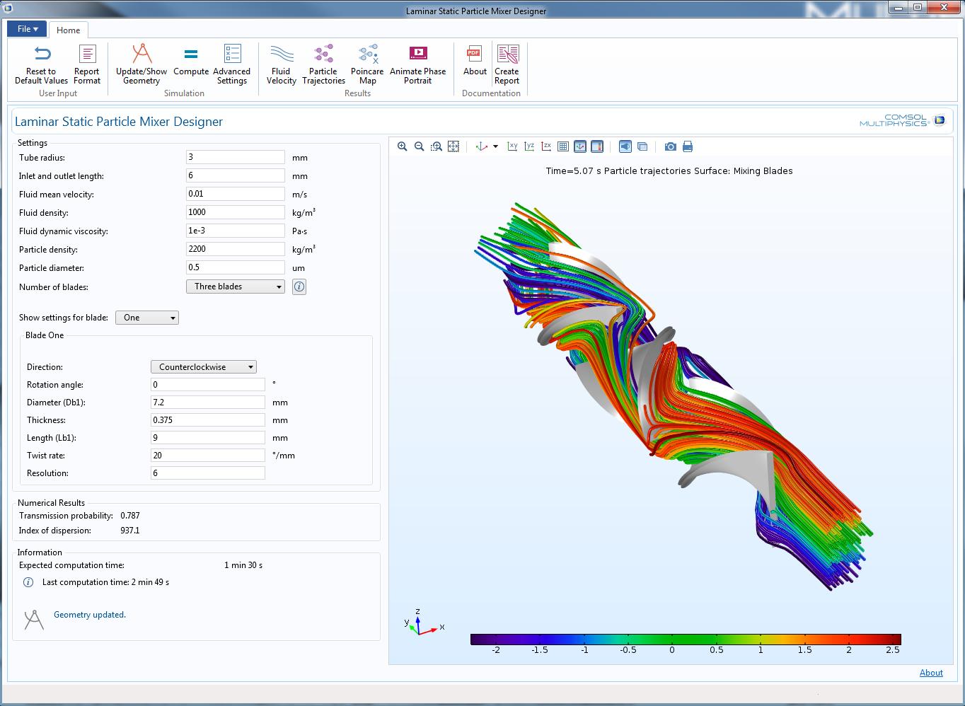 图像展示了层流静态粒子混合器设计器的用户界面。