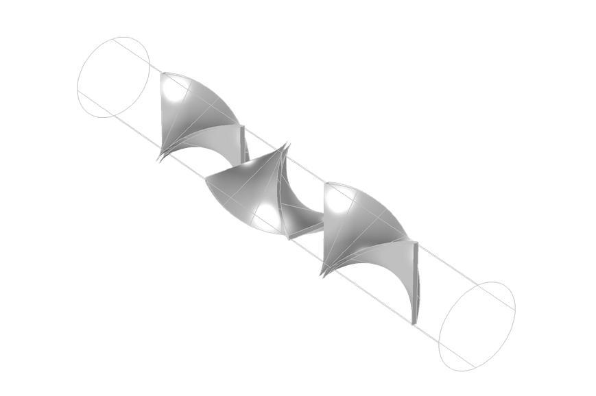 图像显示了层流静态混合器模型的几何结构。