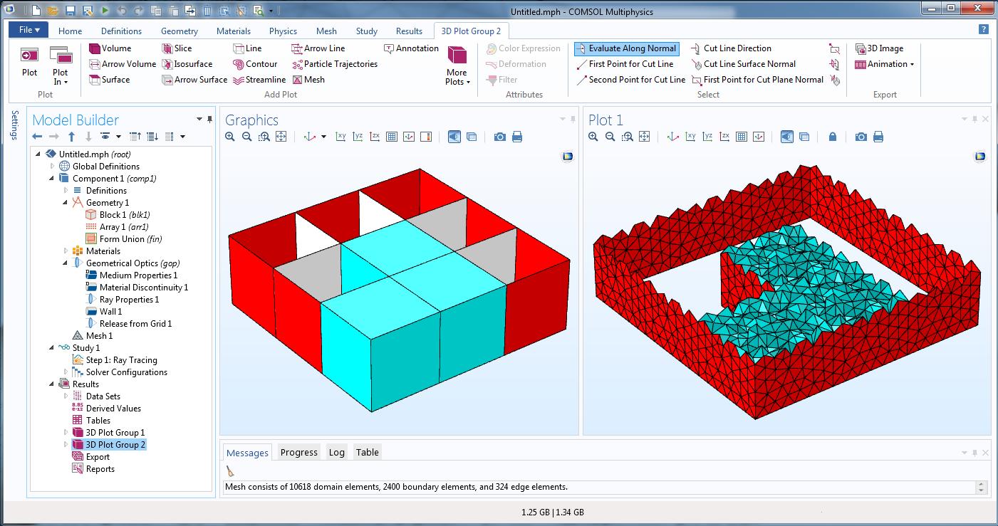 显示立方体阵列的物理场控制的网格序列屏幕截图。