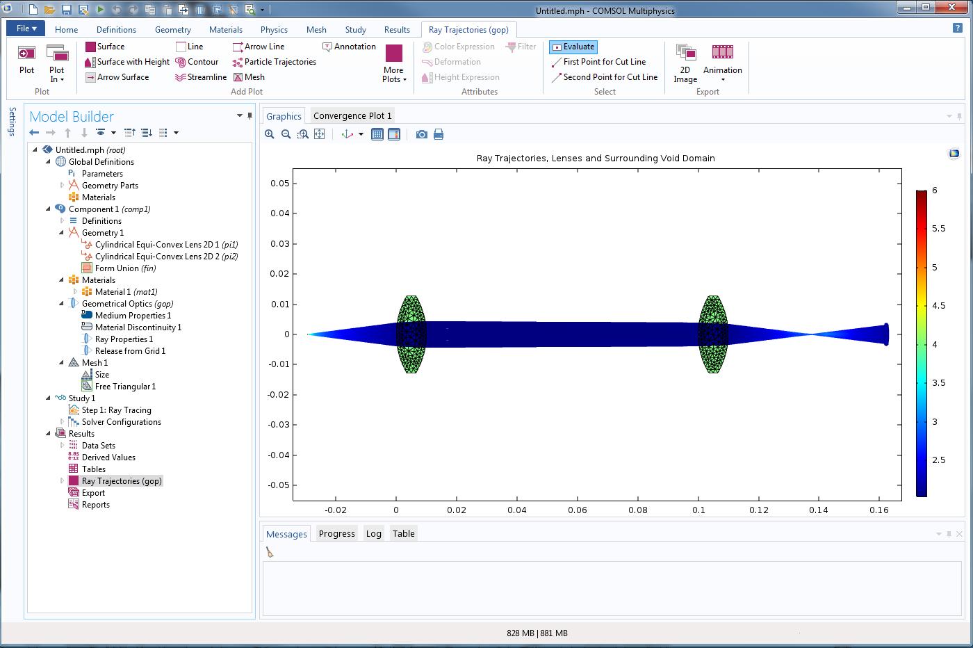 在 COMSOL Multiphysics 5.2a 版本中模拟射线光学透镜系统。