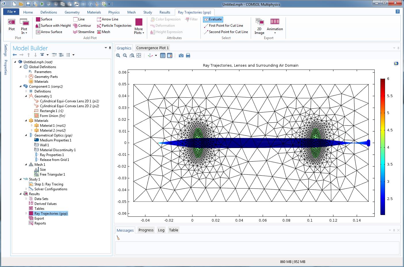 COMSOL Multiphysics 5.2 版本中模拟的射线光学透镜系统。