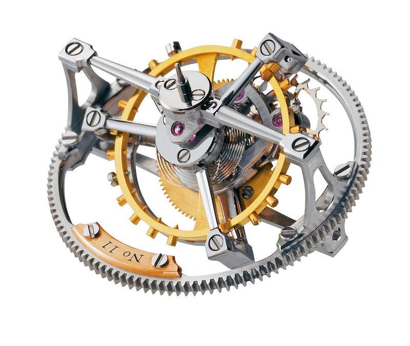 具有阿基米德螺线特征的钟表机械结构的示意图。