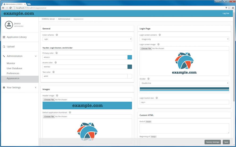 Branded COMSOL Server web interface 优化 COMSOL Server™ Web 界面,展示您的品牌形象