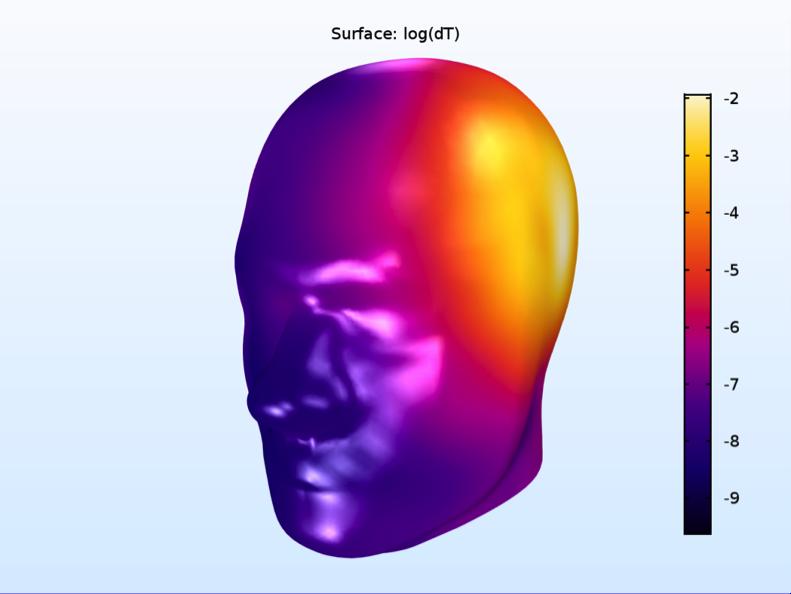 使用 Heat Camera 颜色表的 SAM phantom 仿真。