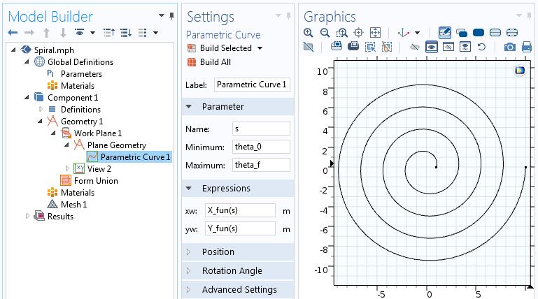 参数化曲线特征的设置。