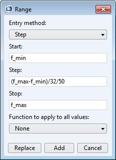 范围对话框的屏幕截图,用于更新仿真频率步长。