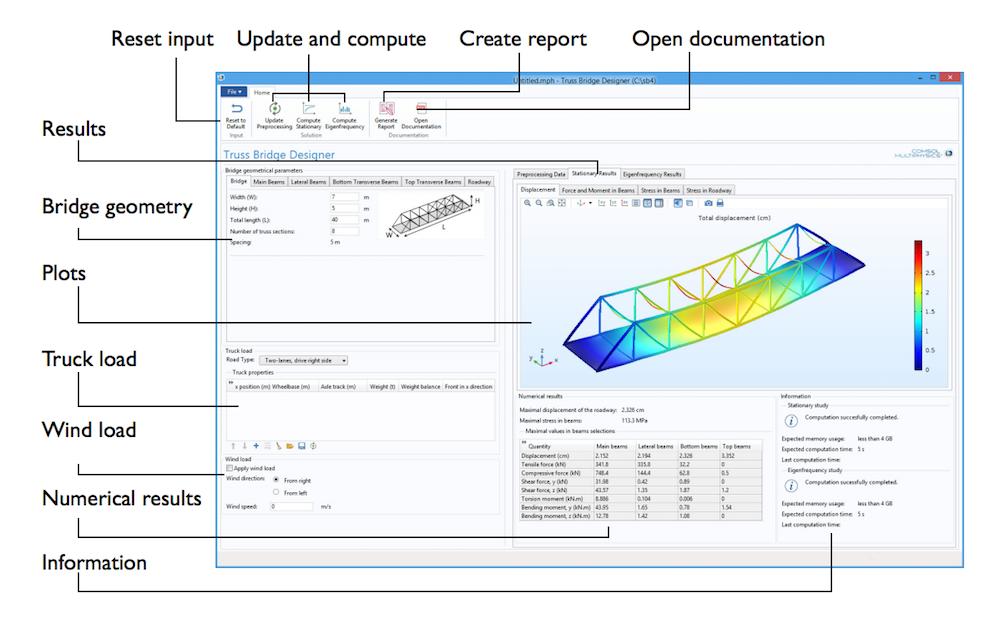 '桁架桥设计器'计算 App 的用户界面截图。