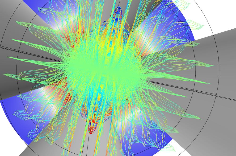 四极质谱过滤器的粒子追踪功能.