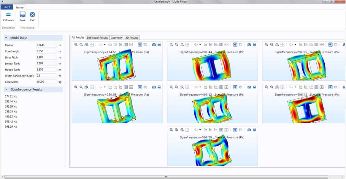 屏幕截图展示了由 ABB CRC 团队开发的用于分析变压器设计的仿真 App。