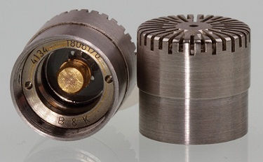 Photograph displaying a 4134 microphone with a protective grid.