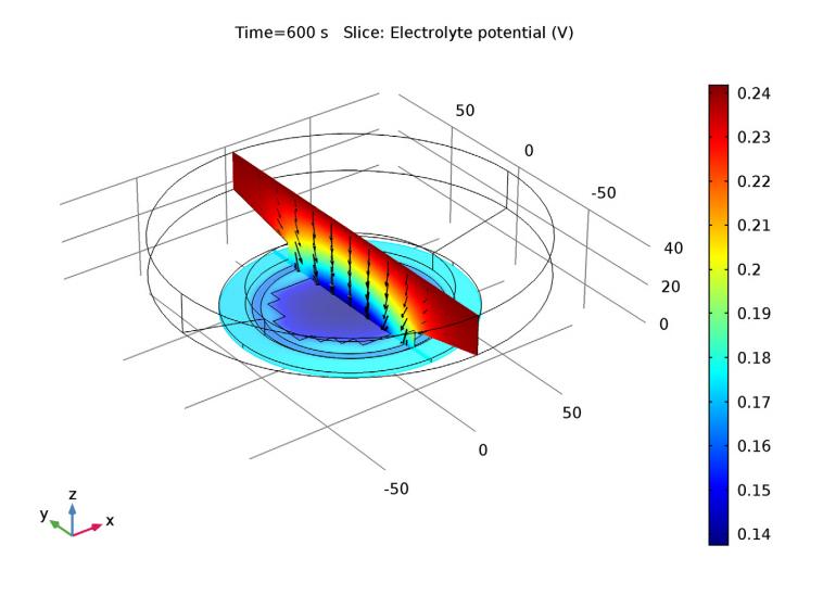 掩膜圆晶片电镀过程中的电解质仿真绘图。