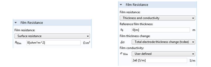 屏幕截图显示了 COMSOL Multiphysics 中的膜阻设置。