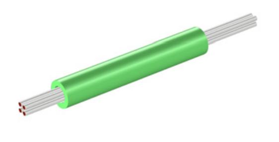 管线感应加热器模型的几何结构。