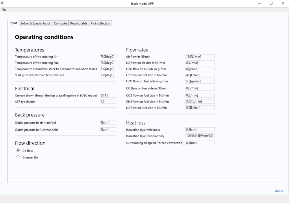 屏幕截图显示了固体氧化物燃料电池 App 的输入选项卡。
