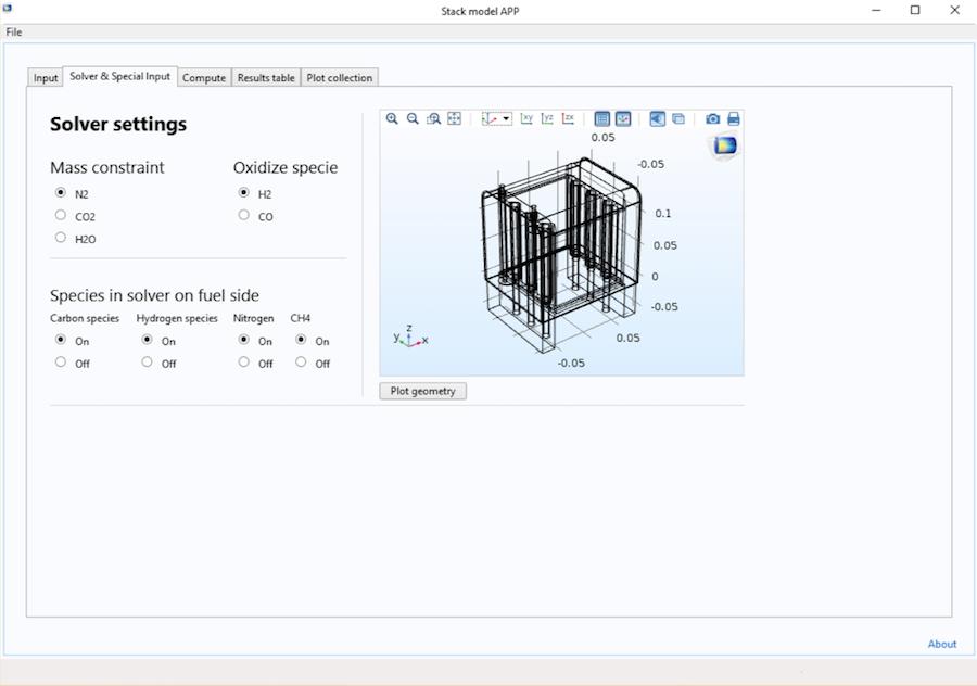 屏幕截图显示了 SOFC 堆 App的求解器 & 特殊输入选项卡。
