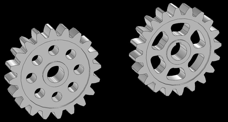 图像显示了两个带有自定义毛坯的齿轮。