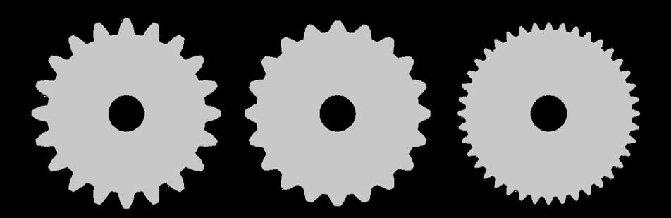 图像展示了具有不同压力角和模数的齿轮。