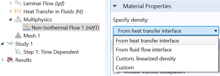 屏幕截图突出显示了 COMSOL Multiphysics 中多个用户指定密度的选项。